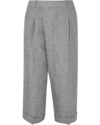 Michael Kors Collection Cropped Linen Wide Leg Pants