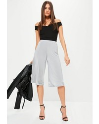 Missguided Grey Slinky Wide Leg Culottes