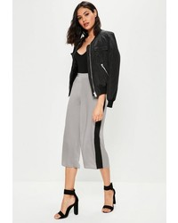 Missguided Nude Contrast Side Stripe Hammered Satin Culottes