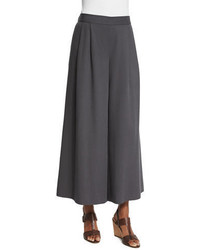 Woven tencel grain wide leg cropped pants medium 3749991