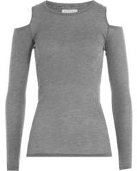 Velvet Jersey Top With Cutout Shoulders