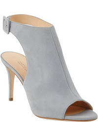 Grey Cutout Leather Ankle Boots