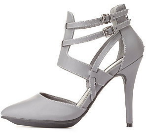 Charlotte Russe Strappy Pointed Toe Dorsay Heels