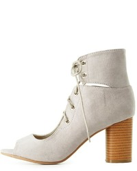Charlotte Russe Qupid Lace Up Peep Toe Booties