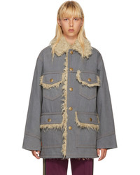 Marc Jacobs Grey Oversized Denim Coat