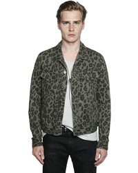 Just cavalli leopard printed denim jacket medium 957843