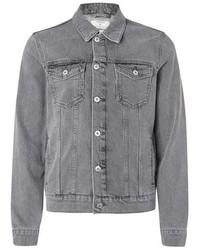 Topman Washed Grey Denim Trucker Jacket