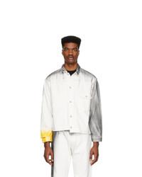 N. Hoolywood White Denim Distressed Jacket