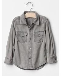 Grey Denim Long Sleeve Shirt