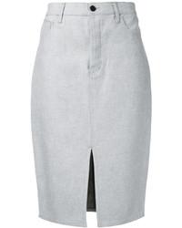 Grey Denim Pencil Skirt