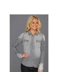 7 For All Mankind Flap Pocket Denim Shirt In Grey Long Sleeve Button Up