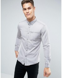Esprit Denim Shirt In Slim Fit With Chest Pocket
