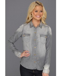 7 For All Mankind Flap Pocket Denim Shirt In Grey Apparel