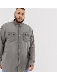 Jack & Jones Plus Size Denim Shirt In Washed Grey