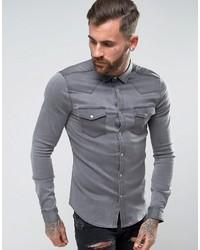 Asos Skinny Fit Western Denim Shirt In Gray