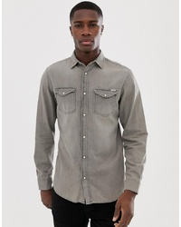 Jack & Jones Slim Fit Denim Shirt In Washed Grey