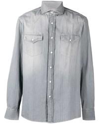 Brunello Cucinelli Stonewashed Long Sleeve Denim Shirt