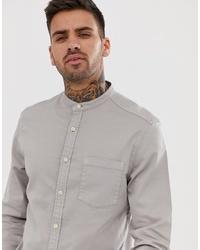 ASOS DESIGN Stretch Slim Denim Shirt In Grey With Grandad Collar