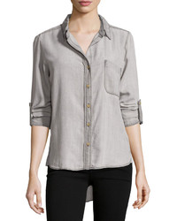 Velvet Heart Tab Sleeve Button Down Blouse Light Gray