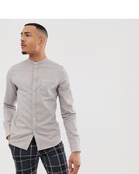 e7868b88d70e ... ASOS DESIGN Tall Stretch Slim Denim Shirt In Grey With Grandad Collar