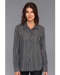 C&C California Textured Tencel Chambray Two Pocket Shirt