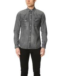 Used effect denim shirt medium 598708