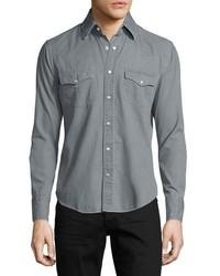 Tom Ford Western Pearl Snap Denim Shirt Gray