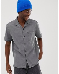 ASOS DESIGN Oversized Denim Shirt In Grey