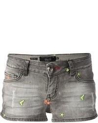 Philipp Plein Faded Denim Shorts