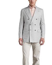 Kiton Basketweave Double Breasted Blazer Light Gray