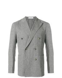 a36b76aff318 Men's Grey Double Breasted Blazer, White Dress Shirt, Grey Dress ...