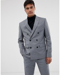 Farah Smart Farah Henderson Skinny Fit Double Breasted Suit Jacket In Grey