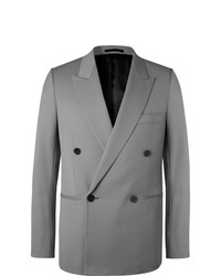 The Row Grey Julian Slim Fit Double Breasted Virgin Wool Blazer