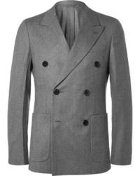 Grey slim fit double breasted super 120s wool flannel blazer medium 800220