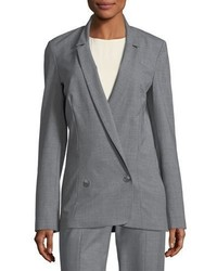 Halston Heritage Long Double Breasted Wool Blend Suiting Blazer