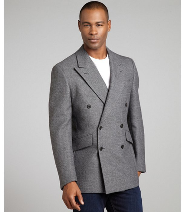 Prada Ardesia Grey Wool Blend Tweed Woven Double Breasted Blazer