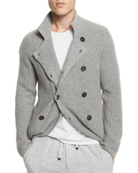 Brunello Cucinelli Double Breasted Shaker Knit Cashmere Cardigan