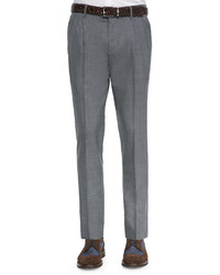 Brunello Cucinelli Double Pleated Wool Trousers Medium Gray