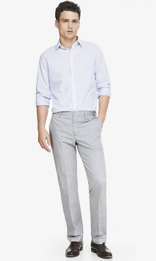 Express Modern Producer Oxford Cloth Light Gray Suit Pant | Where ...