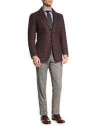 Kiton Flat Front Cashmere Blend Trousers Gray