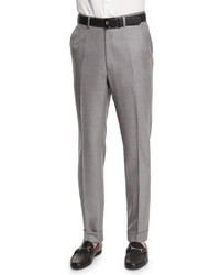 Flat front twill trousers light gray medium 652831