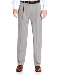 Haggar Two Tone Herringbone Expandable Waist Pleat Front Dress Pant