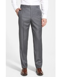 Hickey Freeman B Series Flat Front Wool Trousers