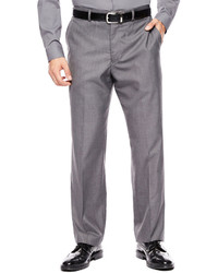JF J.Ferrar Jf J Ferrar Gray Sharkskin Flat Front Classic Fit Suit Pants