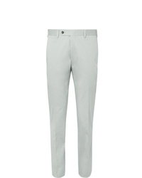Canali Light Grey Kei Slim Fit Tapered Stretch Cotton Twill Suit Trousers