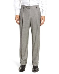 Berle Pleated Stretch Houndstooth Wool Trousers