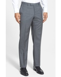BOSS Sharp Slim Fit Flat Front Wool Trousers
