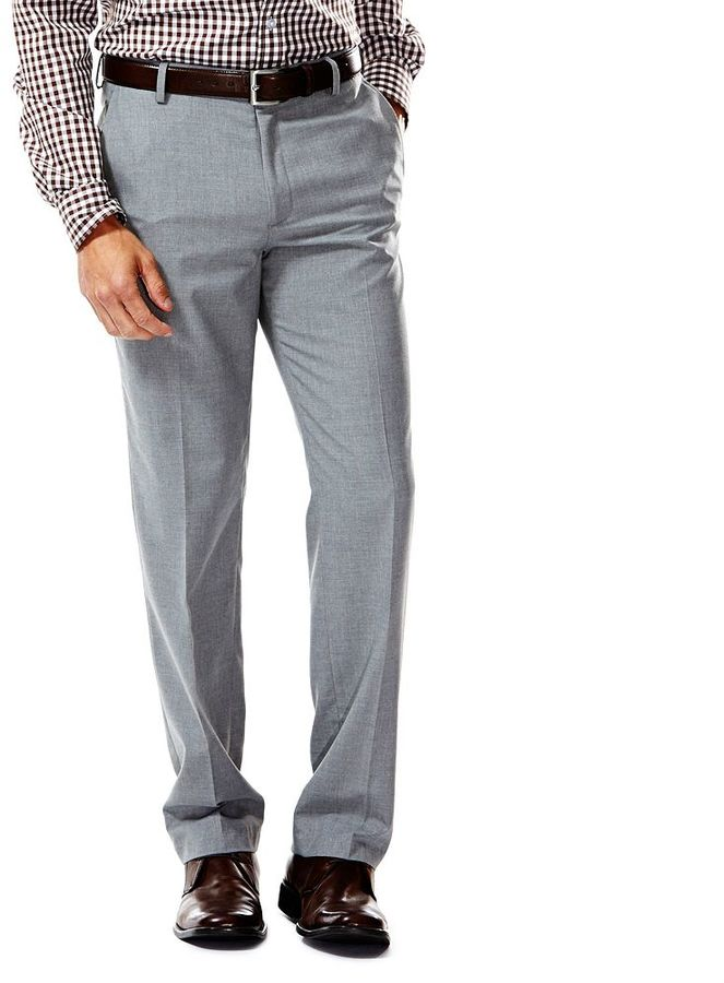 Haggar Slim Fit Heather Flat Front Light Gray Suit Pants 100