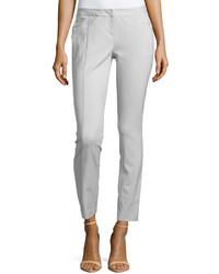 Neiman Marcus Slim Fit Ponte Pants Gray