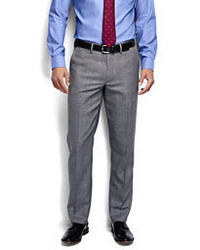 Classic Tailored Fit Pattern Wool Flannel Trousers Light Gray Heather36